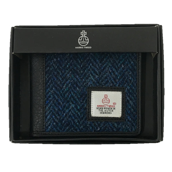 Bifold Wallet Blue Harris Tweed in box
