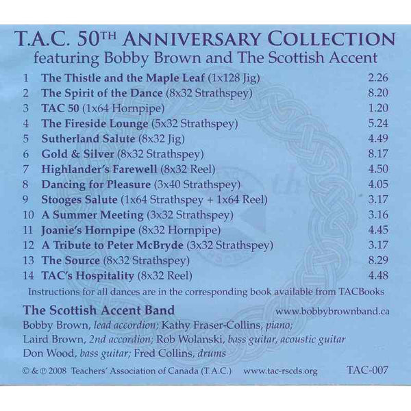 Bobby Brown & The Scottish Accent - TAC 50th Anniversary Collection CD inlay track list