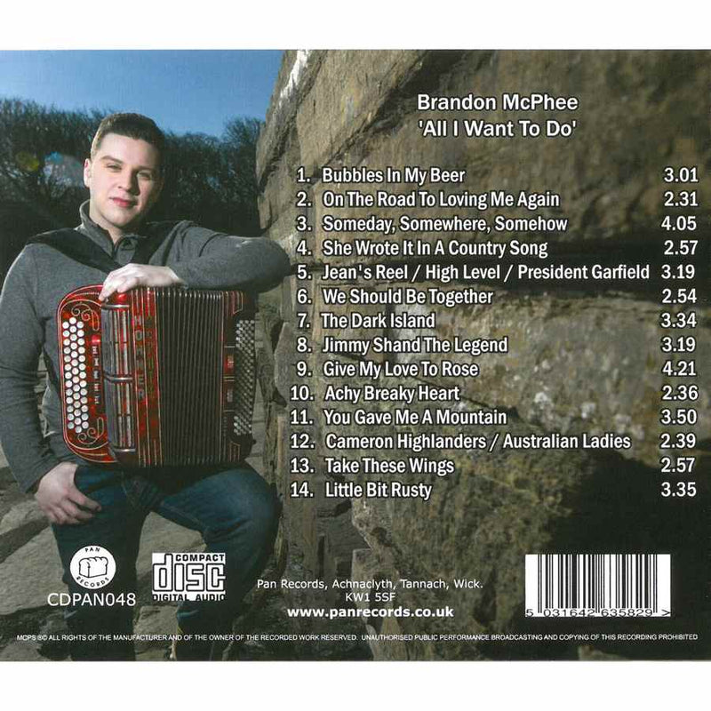 Brandon McPhee - All I Want To Do CDPAN048 inlay track list