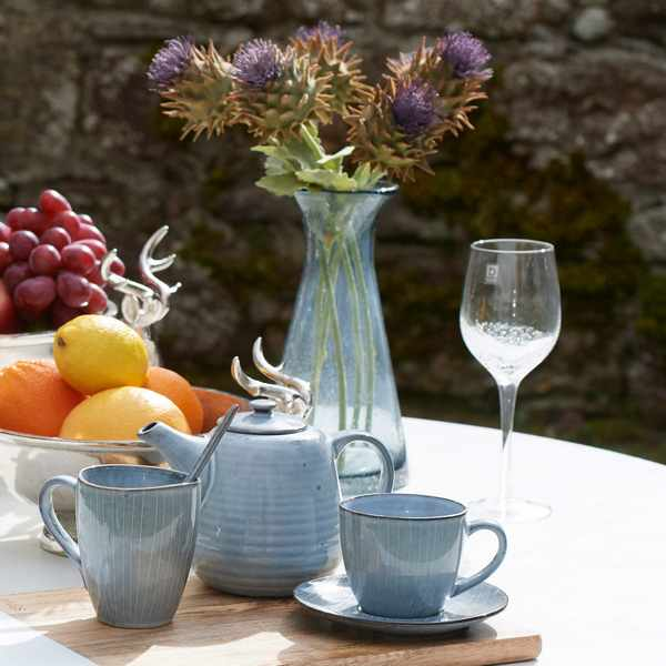 Broste Bubble Glass & Carafe with Nordic Sea Teapot and cups