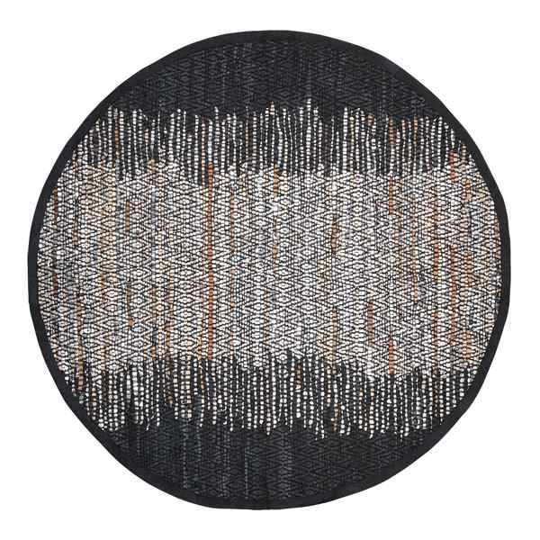 Broste Copenhagen Round Birger Black and Silver Rug 70070285