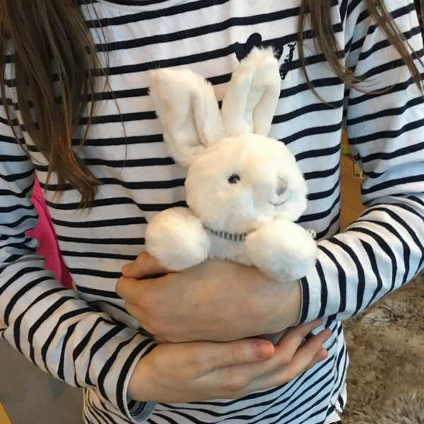 Bukowski White Toy Rabbit Coco with scarf held