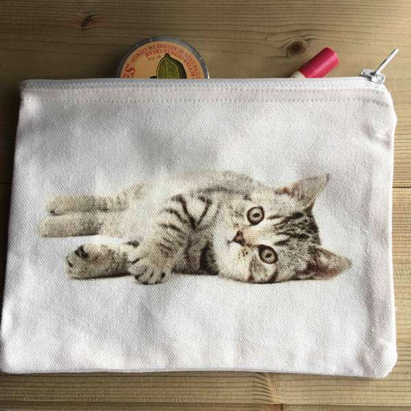 Gorgeous Kitten picture on cosmetics bag