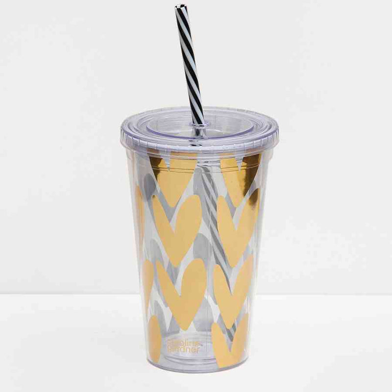 Gold Hearts Travel Cup with Straw