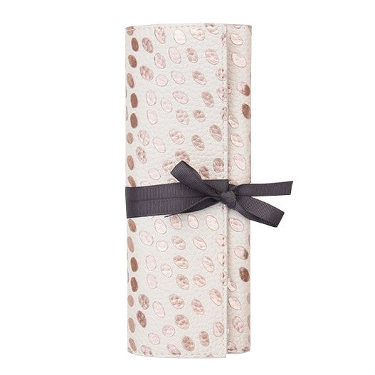 Caroline Gardner Rose Gold Metallic Dotty Jewellery Roll