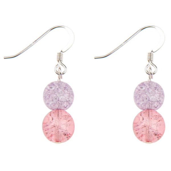 Carrie Elspeth Purple & Pink Crackle Globes Earrings EH1505A main