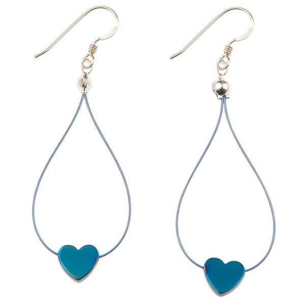 Carrie Elspeth Royal Blue Haematite Heart Earrings EH1525 main