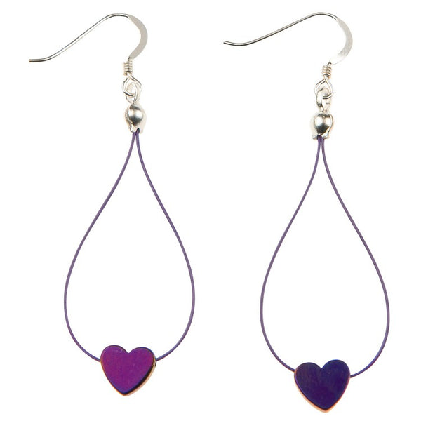 Carrie Elspeth Royal Purple Haematite Heart Earrings EH1524 main