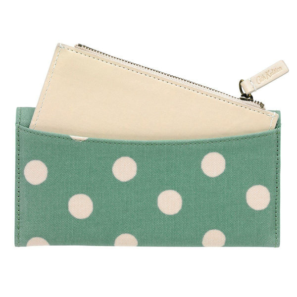 Cath Kidston Card Wallet Zip Purse Button Spot Green back with purse out