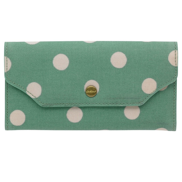 Cath Kidston Card Wallet Zip Purse Button Spot Green front