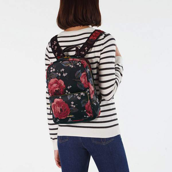Cath Kidston Jacquard Rose Black Velvet Backpack 789011 on model