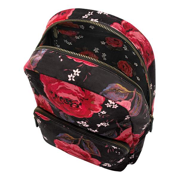 Cath Kidston Jacquard Rose Black Velvet Backpack 789011 open