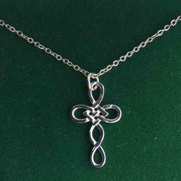 Celtic Knotwork Cross Pendant Necklace in box
