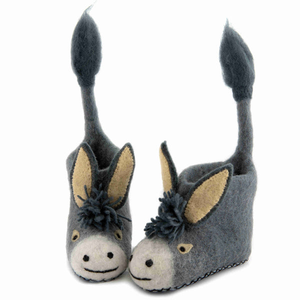 Darci Donkey Children's Felt Slippers - front