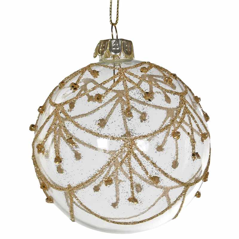 Clear Bauble With Gold Christmas Decoration YNC065