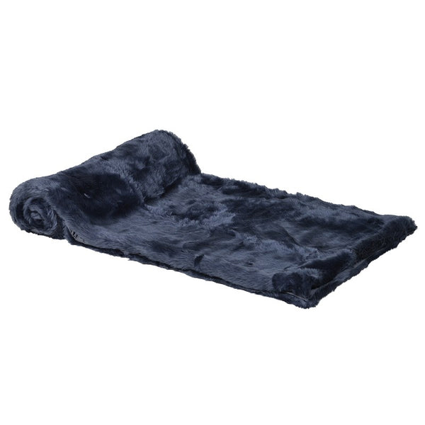 Coach House Blue Faux Fur Throw AYH055