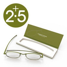 Compact Reading Glasses - olive 2.5
