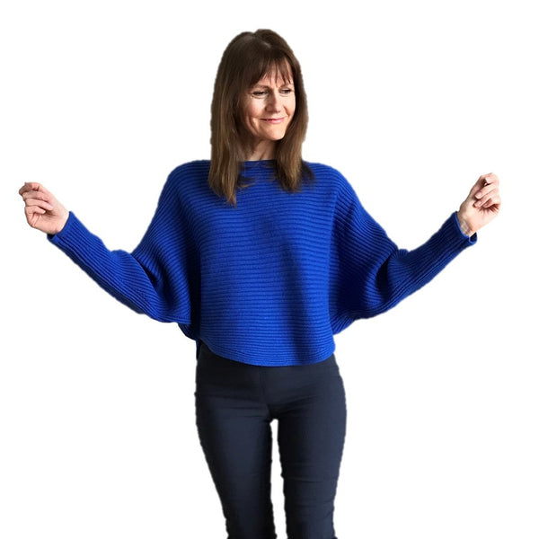 Crew Necked Ribbed Bat Wing Jumper Royal Blue on Helen