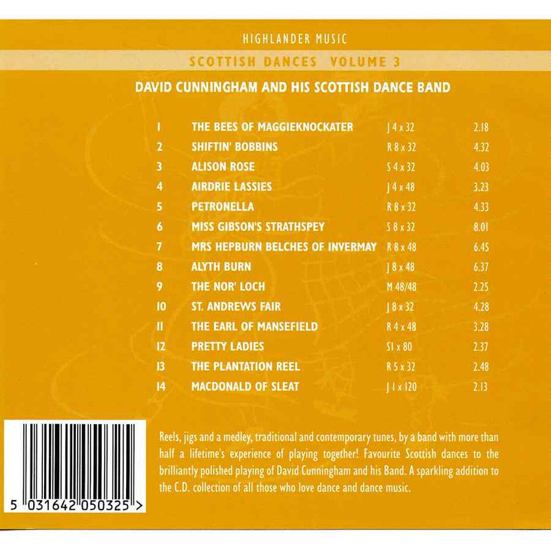 David Cunningham & His Scottish Dance Band - Scottish Dances Volume 3 CD track listing