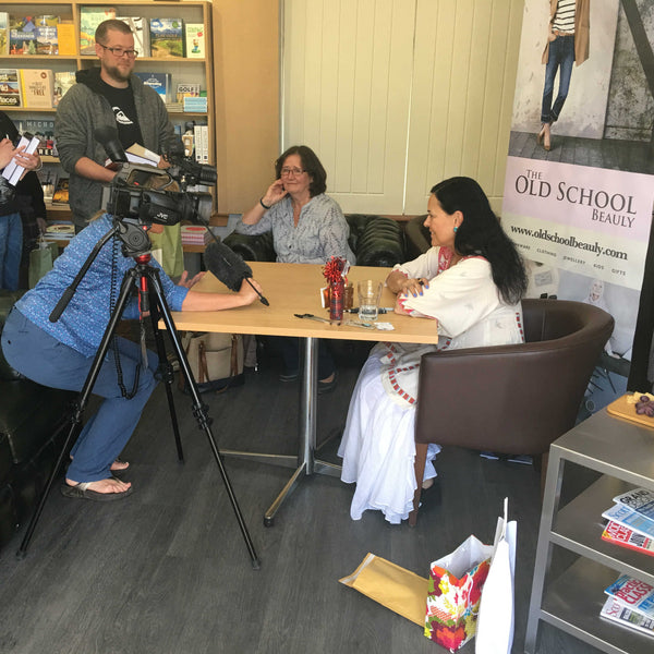 Diana Gabaldon being interviewed for BBC Alba at The Old School Beauly