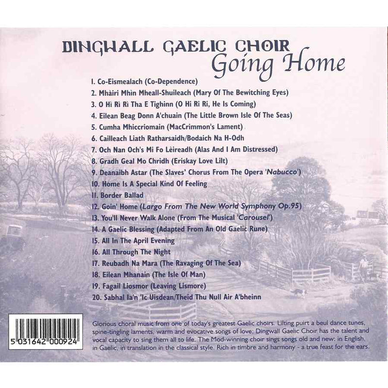 Dingwall Gaelic Choir - Going Home CD inlay track list