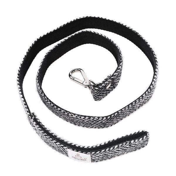 Dog Lead - White Tweed