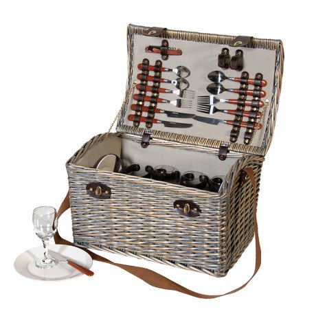 Dome Top Picnic Hamper with cutlery and glasses included