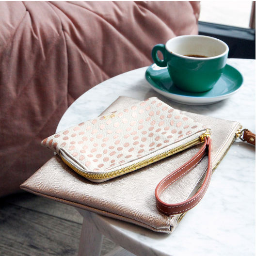 Dotty Rose Gold Metallic Purse ESP100 lifestyle