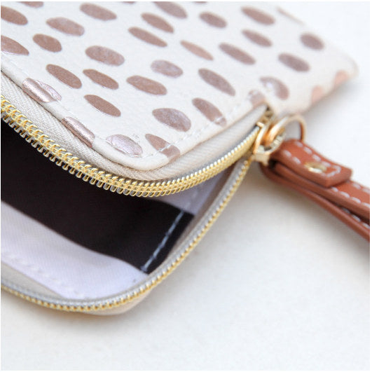 Dotty Rose Gold Metallic Purse ESP100 open