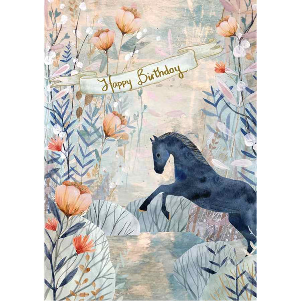 Dreamland Leaping Horse Happy Birthday Card GC2104 front