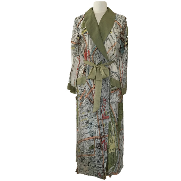 One Hundred Stars Dressing Gown with London Map, perfect gift for a traveller or lady who loves London - front