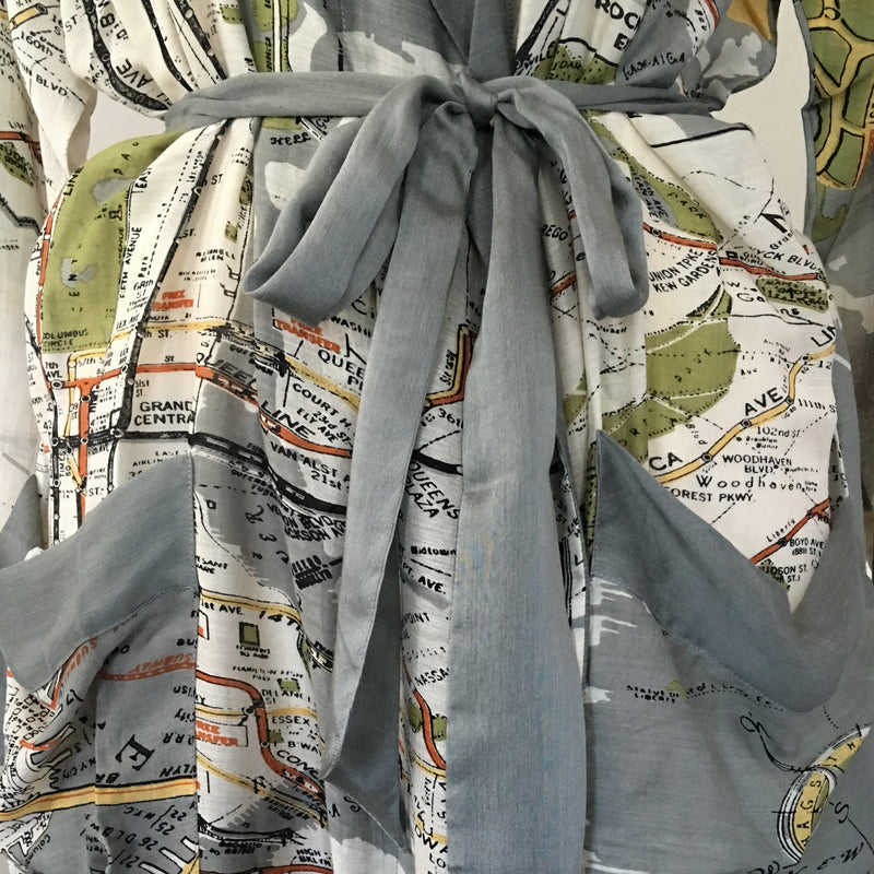 Dressing Gown - NYC Map - bow