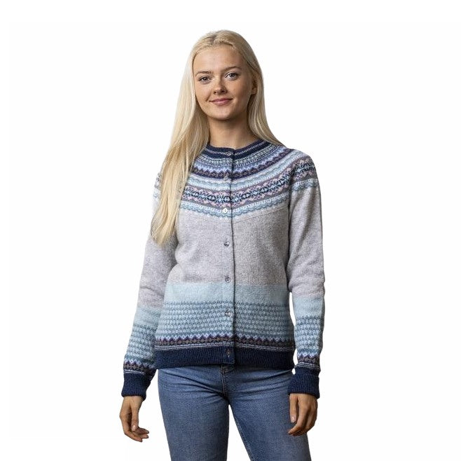 Eribe Knitwear Alpine Cardigan in Arctic on model