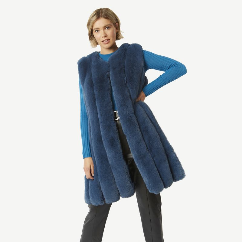 Faux Fur Long Gilet in Blue FMLG69A-07M front