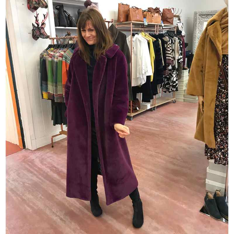 Faux Fur Maxi Coat Plum at The Old School Beauly