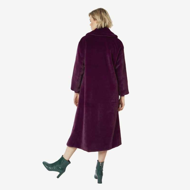Faux Fur Maxi Coat in Plum FMCT59A-05 on model back
