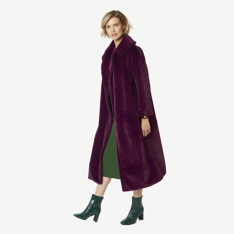 Faux Fur Maxi Coat in Plum FMCT59A-05 on model front