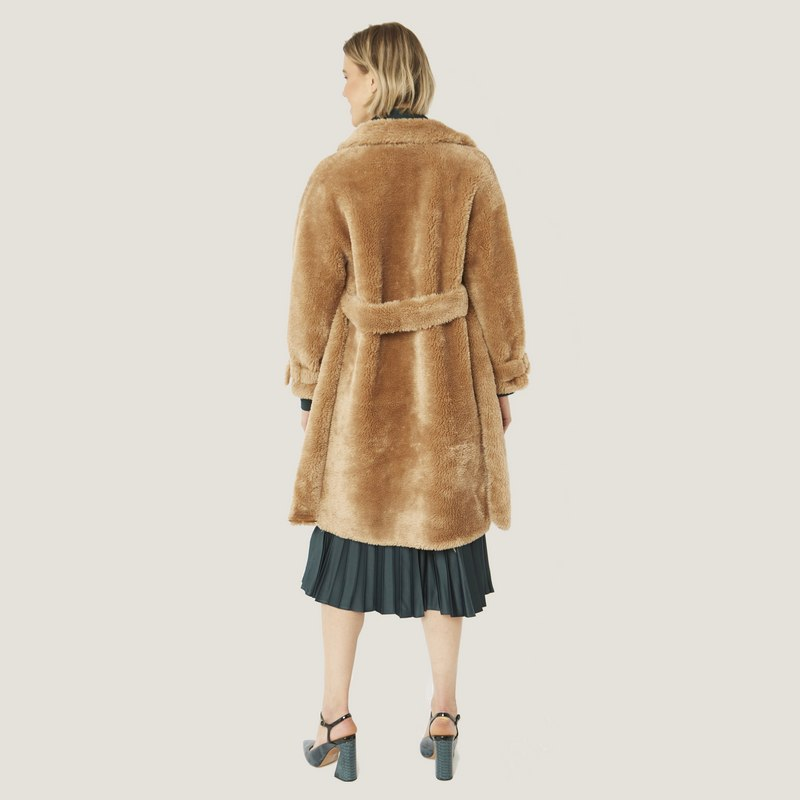 Faux Shearling Coat Mocha with Faux Suede Lining 20SUFCT49A-09 back