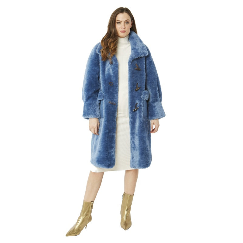 Faux Shearling Coat in Blue 20SUFCT48A-07 on model front