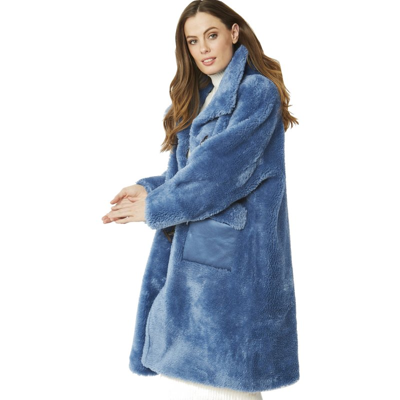 Faux Shearling Coat in Blue 20SUFCT48A-07 on model side