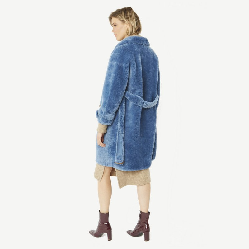 Faux Shearling Coat in Blue with Faux Suede Lining 20SUFCT49A-07 back