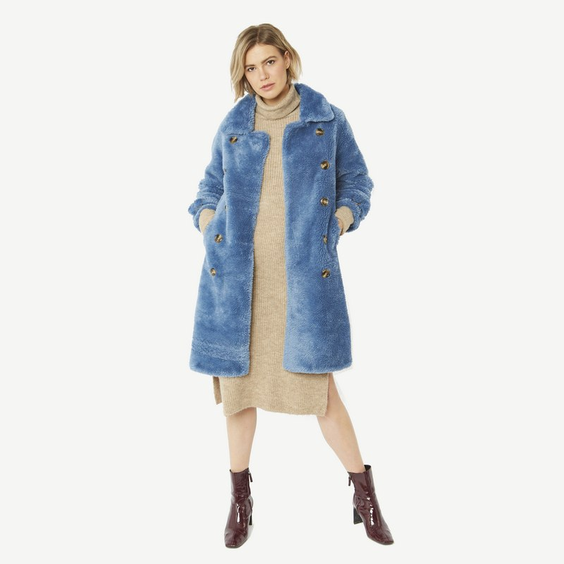 Faux Shearling Coat in Blue with Faux Suede Lining 20SUFCT49A-07 front