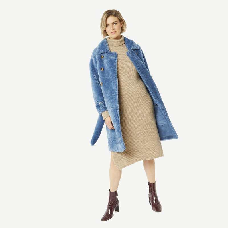 Faux Shearling Coat in Blue with Faux Suede Lining 20SUFCT49A-07 open