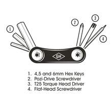 Gentleman's Hardware Titanium Pocket Bicycle Multi-Tool diagram