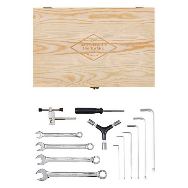 Gentleman's Hardware Bicycle Tool Kit Wooden Box & Stainless Steel Tools GEN292 laid out