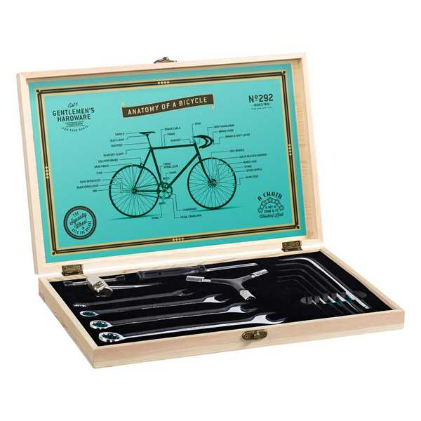 Gentleman's Hardware Bicycle Tool Kit Wooden Box & Stainless Steel Tools GEN292 open