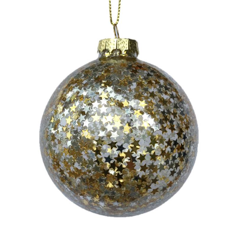 Gisela Graham Clear Glass Ball With Gold and Silver Stars Inside