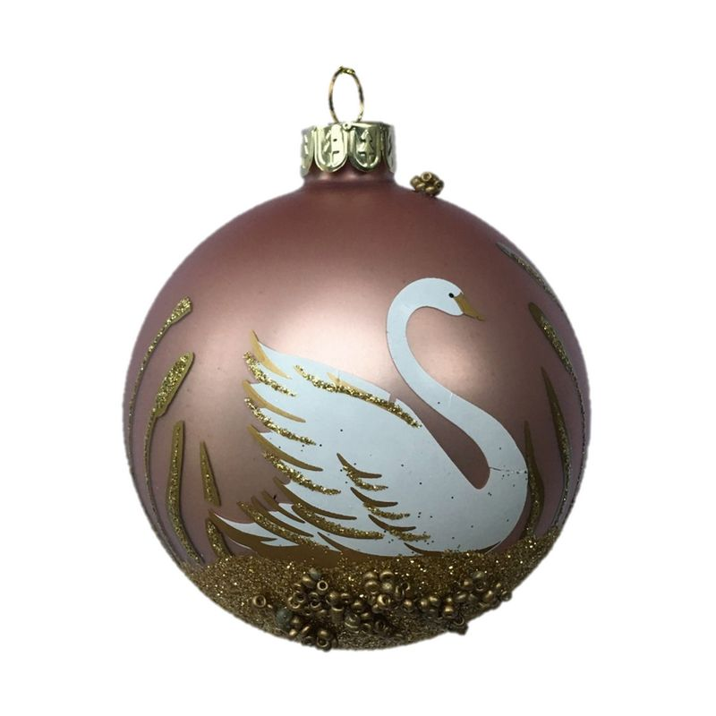Gisela Graham Matt Pink Glass Bauble with Swan and Gold Leaves