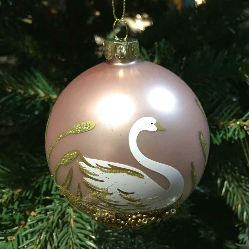 Gisela Graham Matt Pink Glass Bauble with Swan and Gold Leaves on Christmas Tree