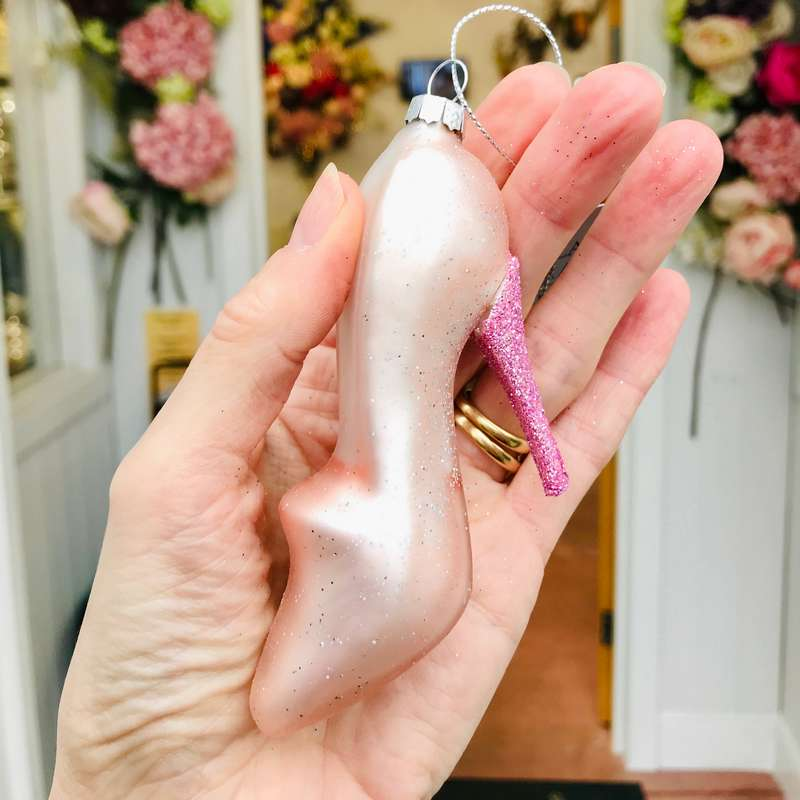 Gisela Graham Pink Glass Stiletto Decoration held in hand